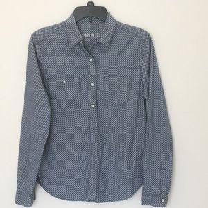 Gap 1969 Blue Denim Polka Dot Button Up Shirt